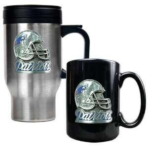 New England Patriots NFL Travel Mug & Ceramic Mug Set