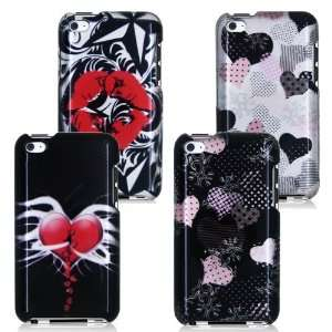 iPOD TOUCH 4 / 4G / 4TH FOUR CASE COMBO, HOT LIPS, BROKEN