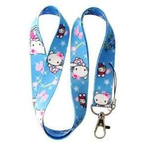 Blue Hello kitty Lanyard Key Chain Holder with Pink Ribbon