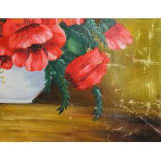 Antique opean Oil Painting, Still Life Poppy Flowers Floral