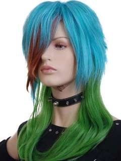 KW349 Long Blue Green Brown Curly Party Wigs