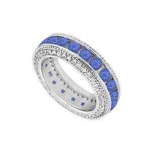 Sapphire and Diamond Wedding Band  14K White Gold   2.25