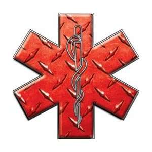 Star of Life EMT EMS Diamond Plate Red 12 Reflective