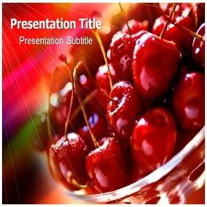 Cherries PowerPoint Template   Backgrounds PowerPoint Templates on