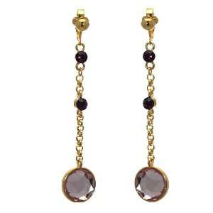 Reverence Gold Pink Crystal Clip On earrings Jewelry