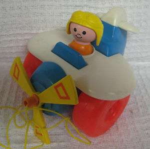 Vintage 1980 PULL ALONG PLANE Fisher Price Little People Airplane Cord