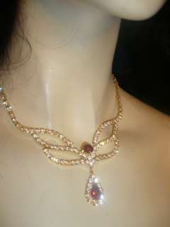 Crystal Rhinestone Choker Necklace Earring Set Deep Red Prom Pageant