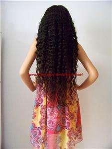 Human Malaysian Hair Remi Remy Wig #1 Black, Deep Wave 28Density 150