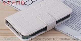 1xCroco Skin Leather Wallet card cell phone cover Case For iPhone 4 4G