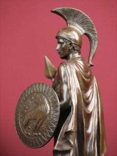 SIGNED BRONZE STATUE ROMAN GOD OF WAR WARRIOR MILITARY SCULPTURE ON