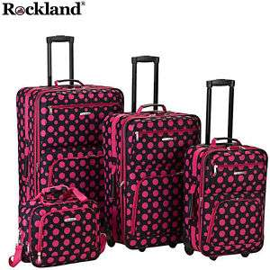 Rockland Black w PINK DOTs 4 pc Luggage set Rolling NEW
