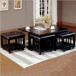 Cocktail Table and 4 Storage Ottomans with Casters Home & Kitchen