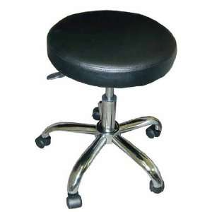 Adjustable Rolling Stool with Black Faux Leather seat