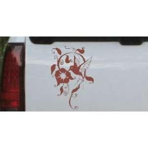Brown 34in X 23.0in    Swirl Vine Flower Hummingbird Animals Car