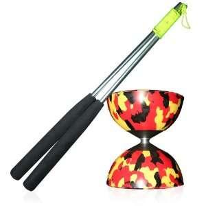 Diabolo (R/Bk/Y) with Firetoys Aluminium Hand Sticks (incl string