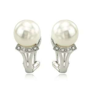 14K White Gold Diamond & China Pearl Earrings Jewelry