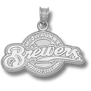 Milwaukee Brewers MLB Full Logo 9/16 Pendant (Silver