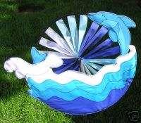 NIP   Beautiful Double Leaping Dolphin Wind Spinner Lawn & Garden