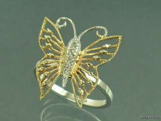 14K WHITE & YELLOW GOLD FILIGREE & DIAMOND BUTTERFLY RING