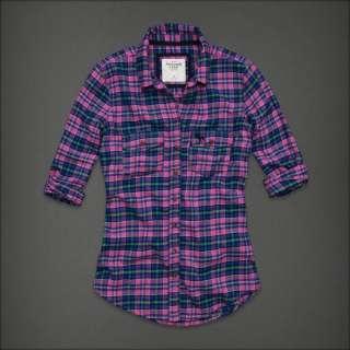 NWT Abercrombie & Fitch Women Dianne Button Down Classic Plaid Shirt