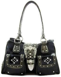Western Cowgirl Rhinestone Bling Belt Buckle Front Pockets Tote Purse
