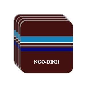 Personal Name Gift   NGO DINH Set of 4 Mini Mousepad Coasters (blue
