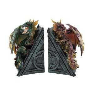 Metallic Gothic Dragon Bookends Book Ends Medieval Home & Kitchen