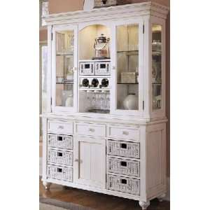 Grooved Treasures Buffet & Hutch Antique White Home & Kitchen