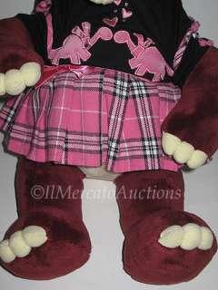 Build A Bear Plush Burgundy DINOSAUR DINO Black Top Pink Skirt Stuffed