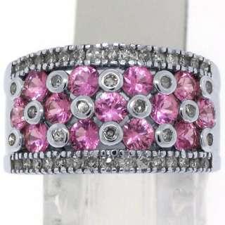 WOMENS PINK SAPPHIRE DIAMOND RING WEDDING BAND 3.38CT ROUND CUT 14KT