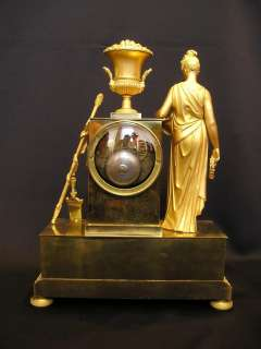 Early Antique French Empire Gilt Bronze Clock with Classical lady ca