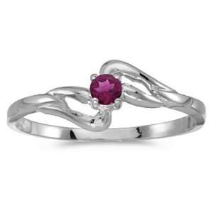 14k White Gold Round Rhodolite Garnet Birthstone Ring Jewelry