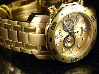 NEW Invicta Men Scuba Pro Diver Swiss Chronograph 18k Gold Stainless
