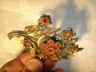 NICE Antique Ruby Red Rhinestone LITTLE NEMO Brooch PIN