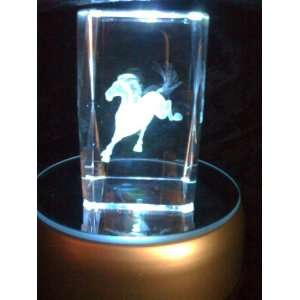 Laser Etched Crystal Cube Horse Running Everything Else