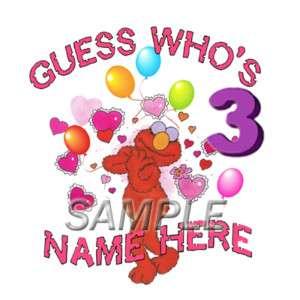 SESAME STREET ELMO 3RD BIRTHDAY IRON ON TRANSFER 3 SIZE