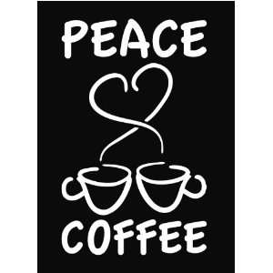 Peace Love Coffee Heart Espresso Latte Vinyl Decal Sticker