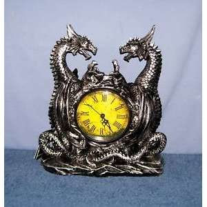 DRAGONSTAR   TWIN EVIL DRAGONS CLOCK FIGURINE GOTHIC CHARM
