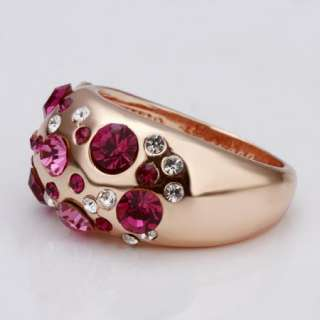 R44 18K rose Gold plated beautiful gem Swarovski crystal Ring size 8