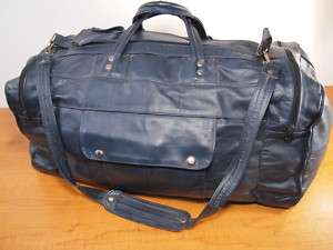 1980s Vintage 21 Extended Navy Leather Duffle Gym Bag