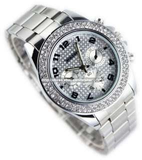 Mens Ladys Luxury Stainless Crystal Quartz Wrist Watch