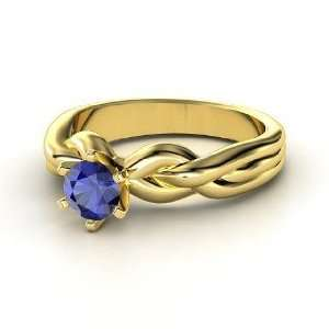 Eternal Braid Solitaire Ring, Round Sapphire 14K Yellow Gold Ring