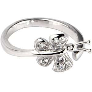 Silver 925 Cubic Zirconia Paved Butterfly Adjustable Toe Ring Jewelry