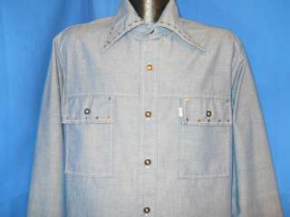 vtg LEVIS PANATELA CHAMBRAY BIG E COLLAR 70S SHIRT L |