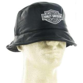 Harley Davidson Leather Bucket Hat w/ Harley Biker Hat S/M L/XL