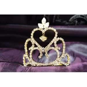 Princess Bridal Wedding Tiara Gold Crown with Clear Crystal DH14071