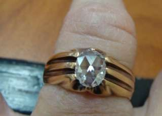 ANTIQUE EDWARDIAN 14K ROSE GOLD LADIES ROSE CUT DIAMOND WEDDING RING