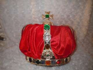 Jeweled & Red Velvet King Queen Costume Crown Prom Homecoming Adult