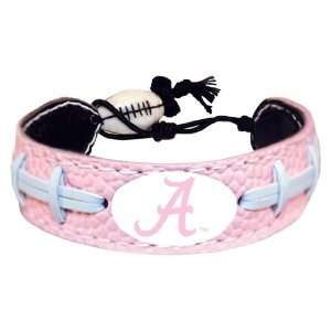 NCAA Alabama Crimson Tide A Logo Pink Football Bracelet