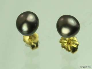PREVIOUSLY OWNED SOLID 14K YELLOW GOLD & GENUINE BLACK PEARL STUD
